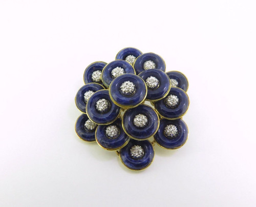 18K Yellow Gold Lapis Lazuli & Diamond Cluster Brooch Italian made Val $7420