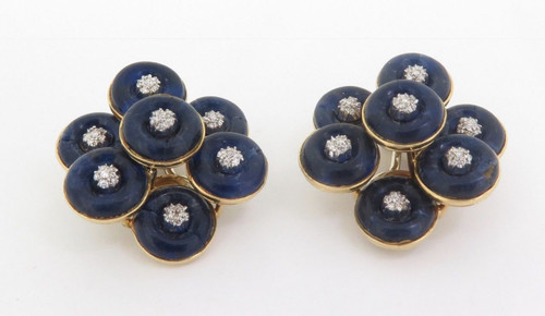Vintage Pair Of Lapis Lazuli & Diamond Set 18ct Gold Earrings Val $6890