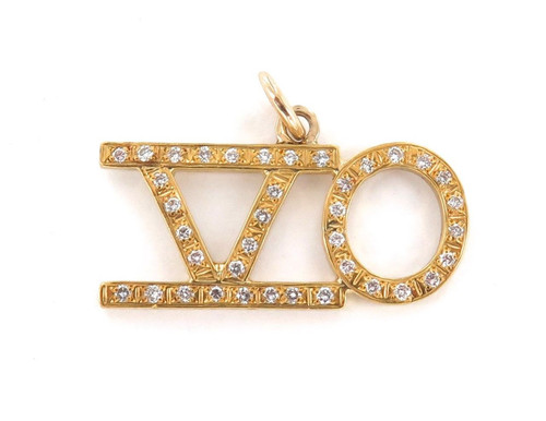 24K SOLID GOLD 38 DIAMOND HEAVY SET 50 PENDANT. 9.8 GRAMS