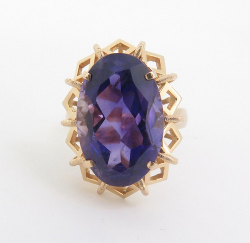 Large Amethyst Handmade 14ct Yellow Gold Ladies Dress Ring Size N 1/2 Val $3335