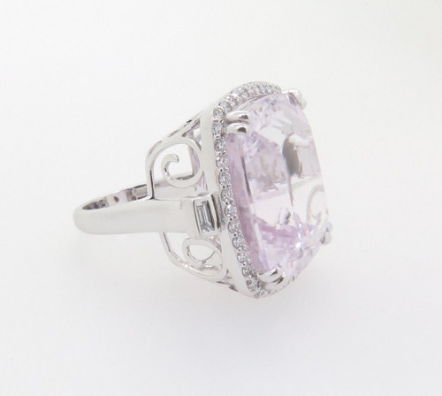 18k White Gold Ladies Kunzite & 0.75ct G VS Diamond Halo Ring Val $17785