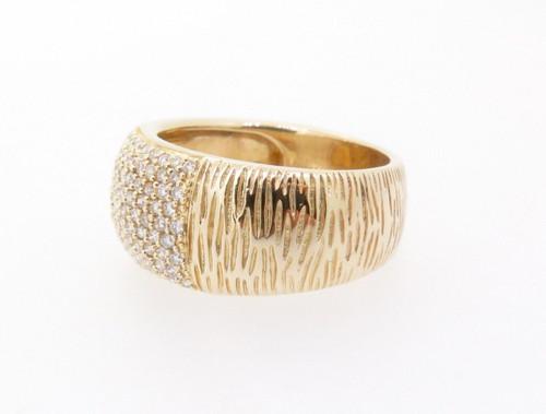 0.65ct Diamond Bead Set 14k Yellow Gold Ladies Ring Size P Val $4715