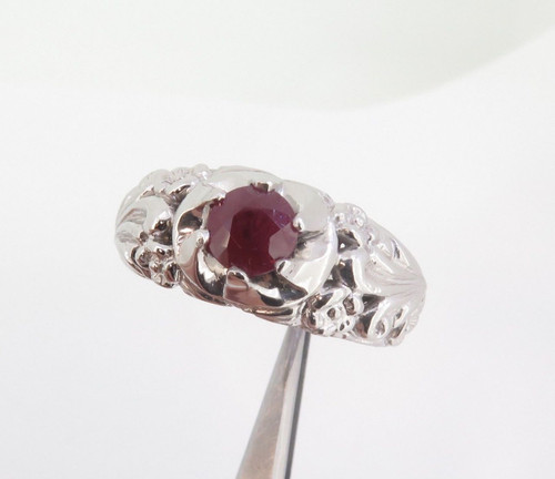 A Large Gentlemen's Platinum & Ruby Dress Ring Size Z+3 26.6 grams Val $10750