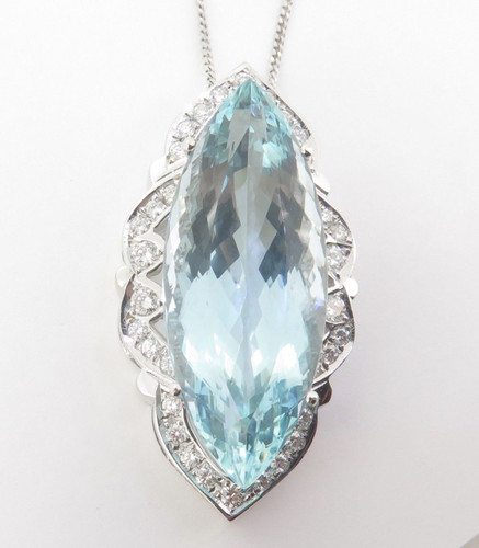 Impressive 38ct Aquamarine & 0.66ct Diamond 18K Gold Pendant & Chain Val $24500