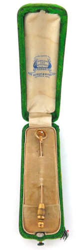 ANTIQUE 14K GOLD & OLD CUT SOLITAIRE DIAMOND STICK PIN + ORIGINAL DISPLAY BOX.