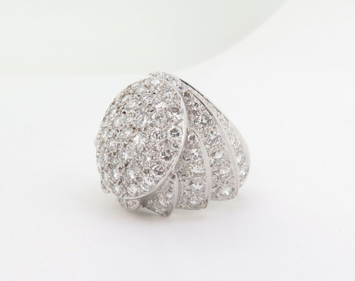 WOW 4.50ct Diamond 14k White Gold Bombe Style Dress Ring Size Q Val $12300