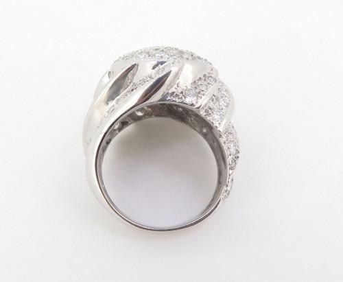 WOW 4.50ct Diamond 14k White Gold Bombe Style Dress Ring Size Q Val $12300