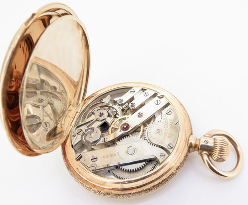 RETAILED BY WRIGHT KAY & CO, DETROIT: A FINE 14K GOLD HIGH GRADE POCKET WATCH