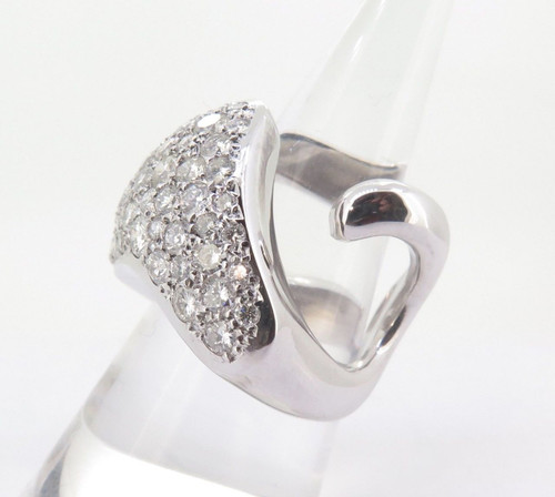14ct White Gold 2.30tcw Pave Set Diamond Heart Ring Size M Val $7710