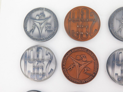 "1982 COMMONWEALTH GAMES LARGE MEDALLIONS ""AUSTRALIAN NUMISMATIC SOCIETY"""