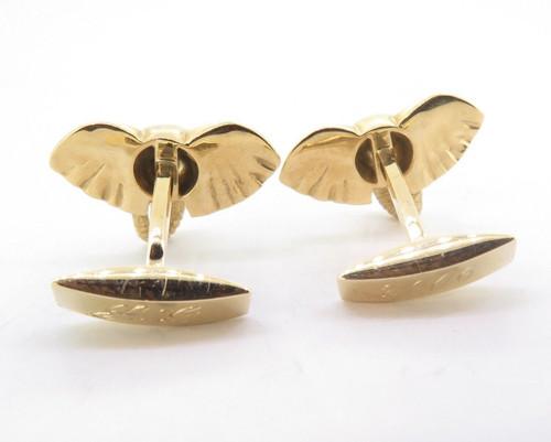 A Fine Pair Of E. Wolfe & Co 18K Gold & Ruby Gentleman's Elephant Cufflinks