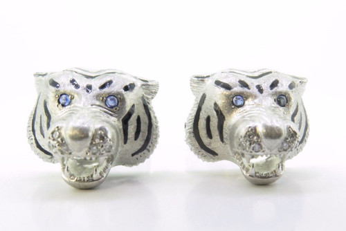 A Fine Pair Of E. Wolfe & Co 18K Gold & Ruby Gentlemen's Tiger Cufflinks
