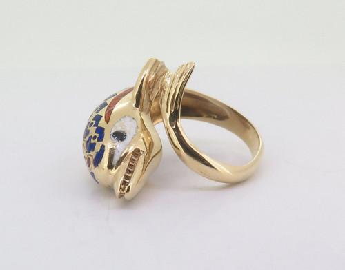 Wonderful Enamel 18k Gold Antique Dolphin Style Ladies Ring Size M