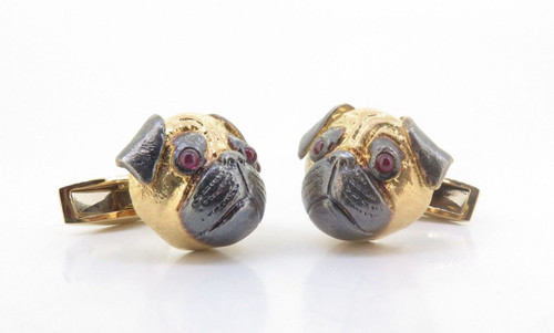A Fine Pair Of E. Wolfe & Co 18K Gold & Ruby Gentleman's Pug Cufflinks