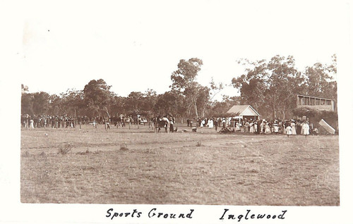 RARE 1909 INGLEWOOD SPORTS GROUND, QLD REAL PHOTO POSTCARD.