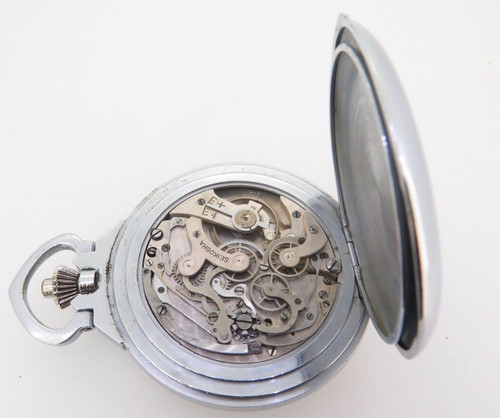 Rare 1940s Seiko Seikosha Naval Chronograph Pocket Watch Nice Patina & Serviced