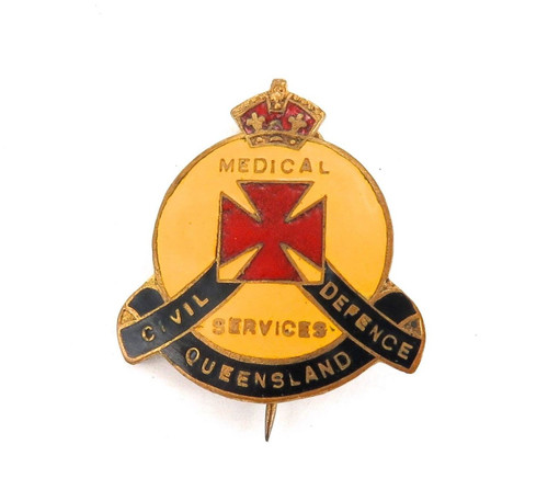 A GOOD cWW2 QUEENSLAND CIVIL DEFENCE MEDICAL SERVICES BADGE. No 3834