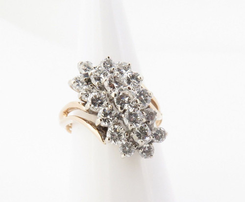 2.00cttw Diamond Ladies 14k Gold Cluster Ring Size M Val $5985
