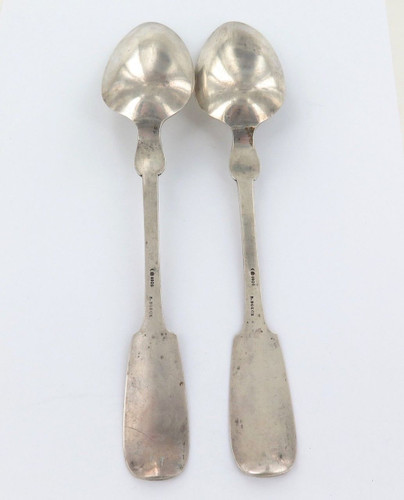 2 x ANTIQUE GERMAN 800 SILVER TABLESPOONS.