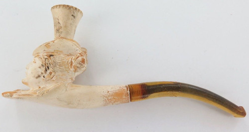 """ANTIQUE """"BUST OF A LADY"""" MEERSCHAUM PIPE IN ORIGINAL CASE."""