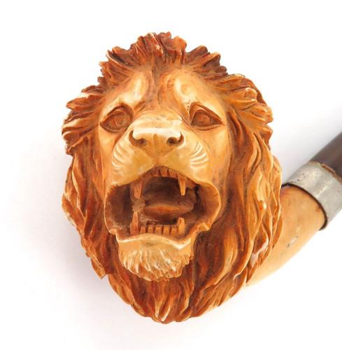 "STUNNING / ANTIQUE ""LIONS HEAD"" MEERSCHAUM PIPE."