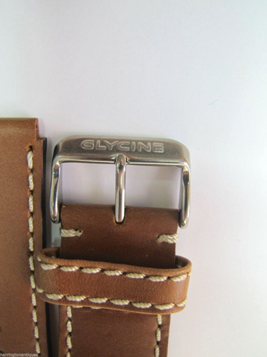 24MM CHOC BROWN LEATHER STRAP W/ WHITE STITCHING & STEEL BUCKLE BY GLYCINE #F