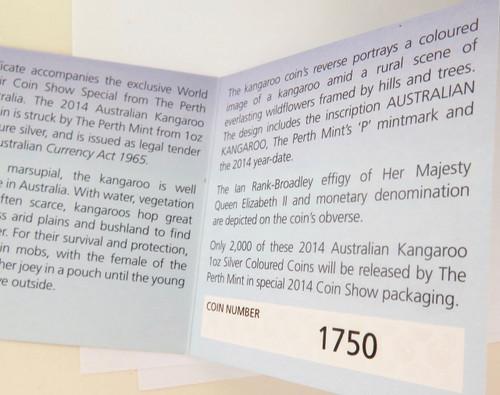 2014 WORLD MONEY FAIR COLOURED KANGAROO UNC 99.99% SILVER $1, BOX & COA.