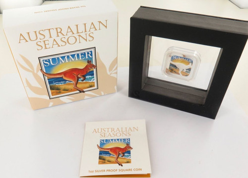 2013 AUSTRALIAN SEASONS SUMMER COLOURED 1OZ 99.99% SILVER $1, BOX AND COA.