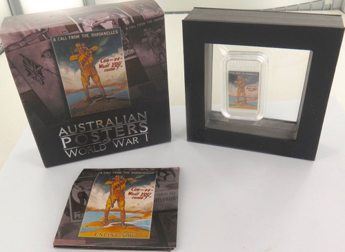 2014 AUSTRALIA POSTERS OF WORLD WAR 1 SILVER PROOF 1OZ $1 WITH BOX & COA.