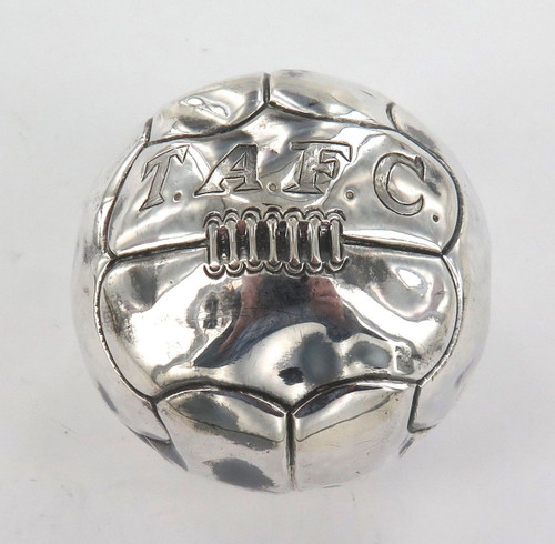 RARE / VINTAGE STERLING SILVER SOCCER / FOOTBALL. ENGRAVED T.A.F.C.