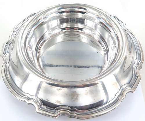 c1921 TIFFANY & Co STERLING SILVER HUGE SERVING BOWL + DRAINING DISH. 1 KILO +