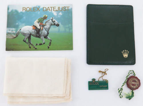 1991 ROLEX DATEJUST BOOKLET, WALLET, RED TAG, GREEN SWING TAG & CLOTH.