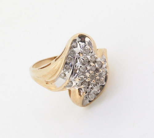 14K Yellow Gold 0.50ct Diamond Cluster Ring Size N Val $2110