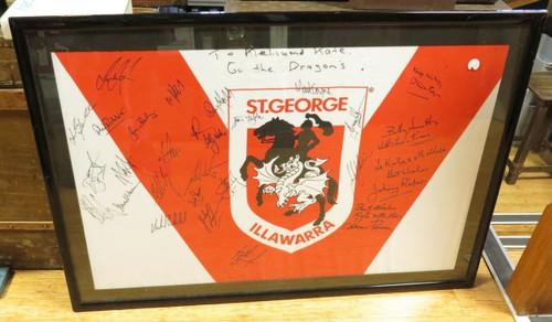 1990s ST GEORGE RUGBY LEAGUE SIGNED & FRAMED JERSEY. RAPER, PROVAN, LANGLANDS