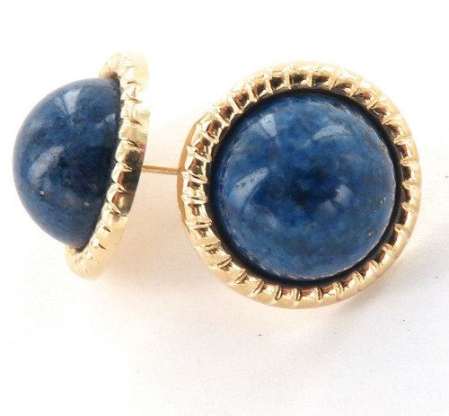 14K GOLD & LAPIS LAZULI LARGE MATCHING PAIR EARRINGS.