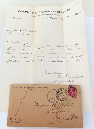 1894 CENTRAL RAILROAD NEW JERSEY COVER, DEAD LETTER / CANCELLED, ORIGINAL LETTER