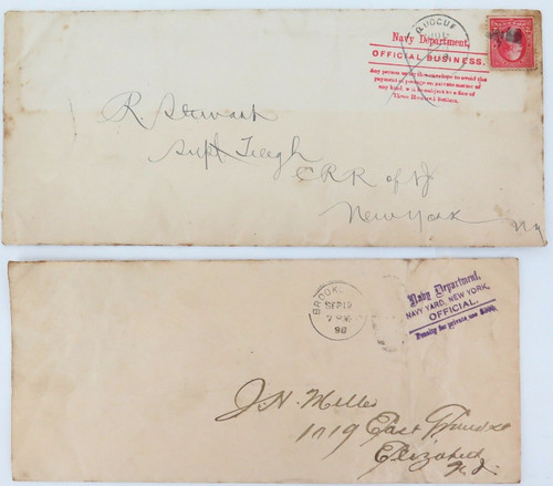 1898 2 x US NAVY DEPARTMENT OFFICIAL BUSINESS LARGE COVERS.