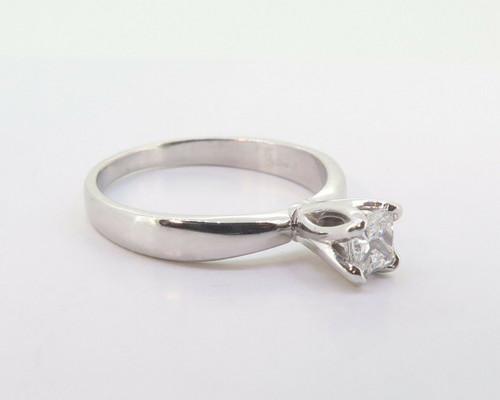 Platinum 0.40ct G Si1 Princess Cut Diamond Solitaire Ring Size L Val $3750