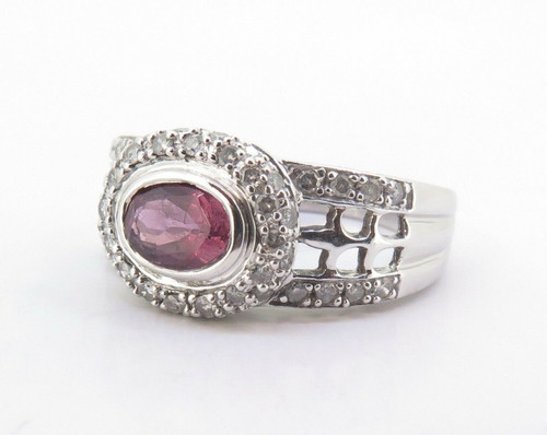 14k White Gold Pink Tourmaline & Diamond Halo Dress Ring Size P Val $3140