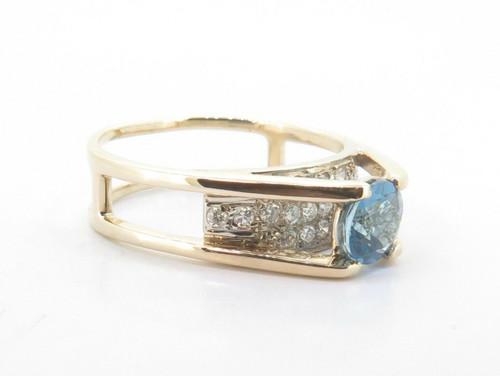 14k Yellow Gold Blue Topaz & Diamond H VS Set Dress Ring Size P1/2 Val $2690