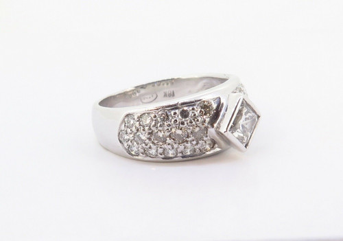 1.28cttw Princess & Brilliant Cut Diamond 18k White Gold Ring Size K Val $8870