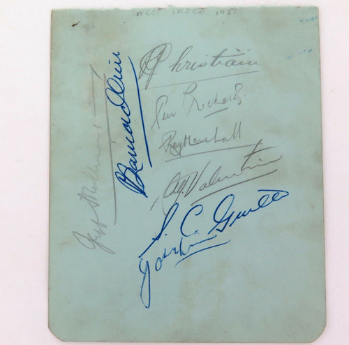 1951 - 1952 WEST INDIES TOUR OF AUSTRALIA. 9 SIGNATURES. 7 W.I. & 2 AUST.