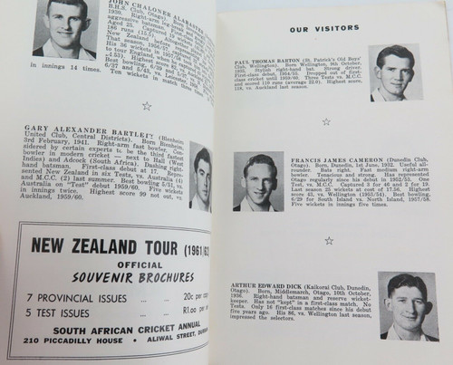 1961 - 1962 NEW ZEALAND TOUR OF SOUTH AFRICA TOUR GUIDE.