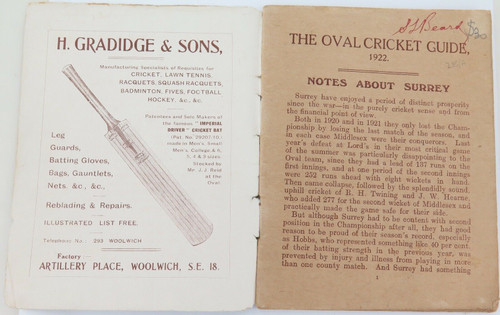 "1922 SURREY COUNTY CRICKET ""THE OVAL"" CRICKET GUIDE."