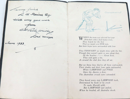 "1933 SUPER RARE BODYLINE PUBLICATION. ""OH ! THOSE ASHES"" SIGNED BY LORD MAYOR."