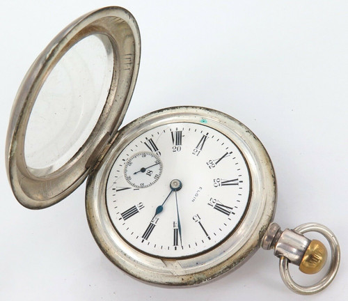 1906 ELGIN 18S 15J POCKET WATCH WITH HUGE 61MM COIN SILVER CASE, ONLY 53,500 MADE