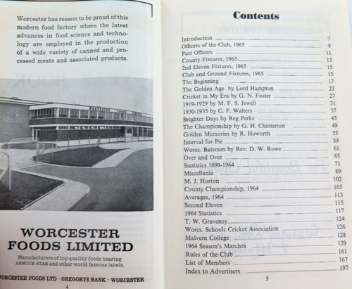 15 AUTOGRAPHS, 1965 WORCESTERSIRE C.C.C. SIGNED CENTENARY YEAR BOOK.