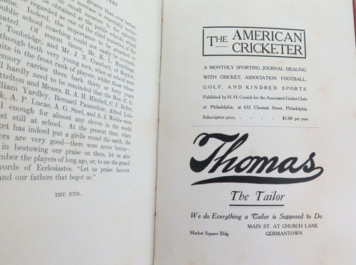 """1907 RARE AMERICAN PUBLICATION. """"CRICKET & CRICKETERS"""" by F S ASHLEY-COOPER."""