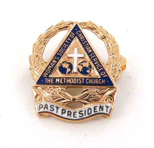 10K GOLD & ENAMEL METHODIST CHURCH PAST PRESIDENT PIN.