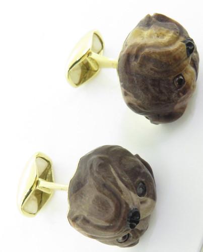 A Fine Pair Of Paul Longmire 18k Gold Carved Bulldog Cufflinks
